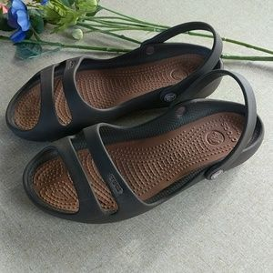 Crocs Brown Slip On Sandals Shoes 8 Straps Comfort